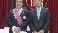 El decano-presidente del Colegio de Registradores de España, Gonzalo Aguilera Anegón, y el ministro de Justicia, Rafael Catalá Polo