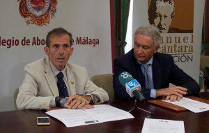 El presidente de la Fundación Manuel Alcántara, Teodoro León Gross, y el decano del Colegio de Abogados de Málaga, Francisco Javier Lara