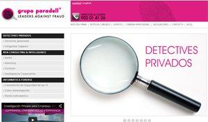 Portada de la Web de Grupo Paradell Detectives