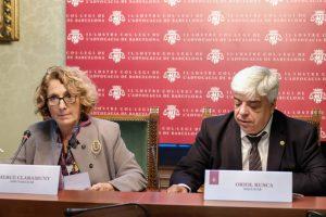 La responsable del Turno de Oficio, Mercè Claramunt y el decano del Colegio de la Abogacía de Barcelona, Oriol Rusca
