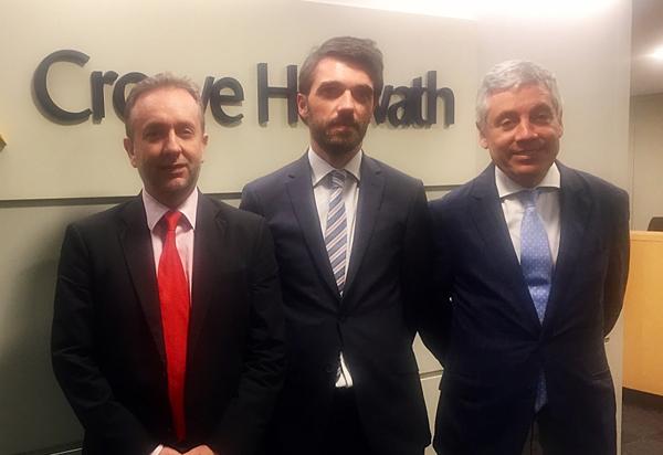 Carlos Puig (CEO de Crowe Horwath Spain), Juli Vilagrasa (Director Oficina Lérida) y Emilio Álvarez (Socio y Responsable de Desarrollo de Negocio)