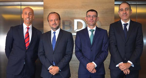 de izquierda a derecha: César Rey, Pablo Albert, Francisco Giménez y Justo López