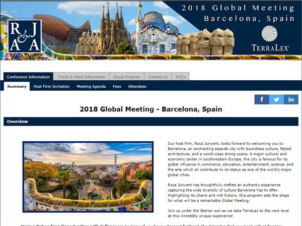 TerraLex se celebrará en en Barcelona auspiciado por Roca Junyent