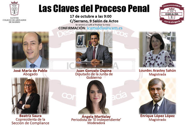 El ICAM analiza sobre las claves del proceso penal en su primer Desayunos Jurídicos