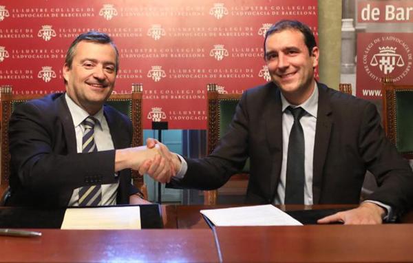 Josep M. Balcells Cabanas (izda.) por parte de ICAB y Carles Riba, por parte de Arquia Banca-Caja Abogados