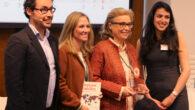 De izquierda a derecha, Rafael Garavito, country manager de Universum España, Laura Elorza y Lourdes Ramos, gerente y directora de Recursos Humanos de Garrigues respectivamente, y Federica Leotta, country manager de Universum Italia.